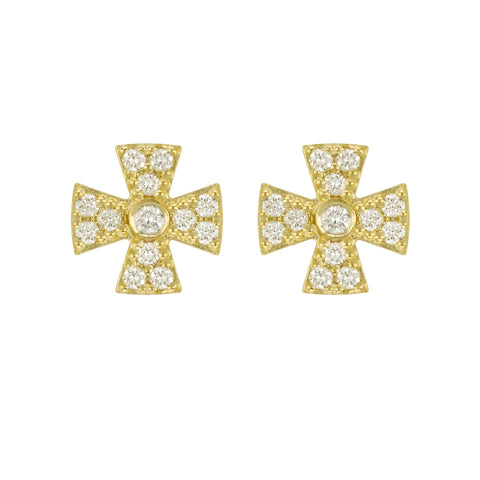 LPL Signature Collection 18k Yellow Gold Diamond Maltese Cross Studs