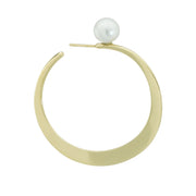 18k Yellow Gold Hoop with Pearl
