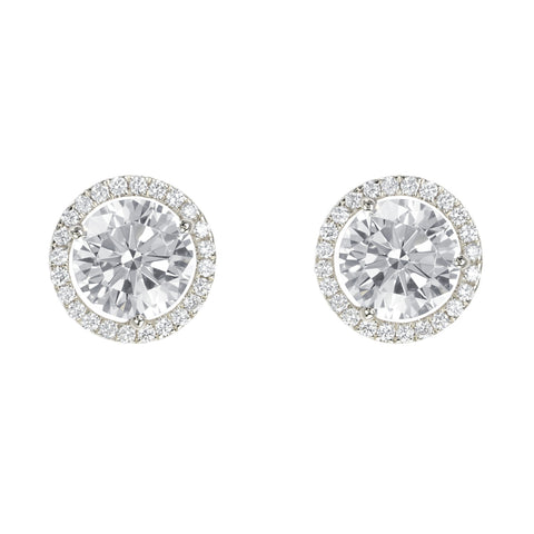 18k White Gold Micro Pave Studs