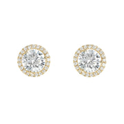 18k Yellow Gold Micro Pave Studs
