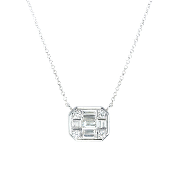 18k White Gold Diamond Illusion Necklace