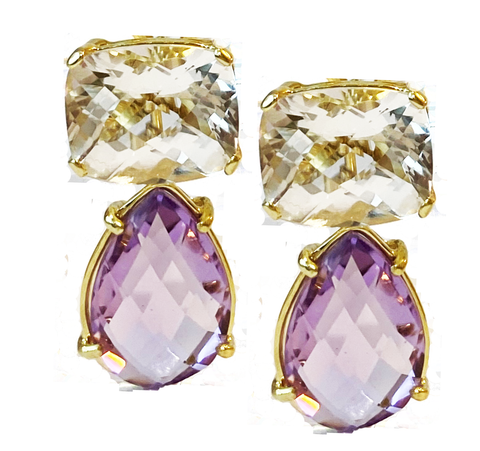 14k Yellow Gold White Topaz and Lavender Amethyst Drop Earring