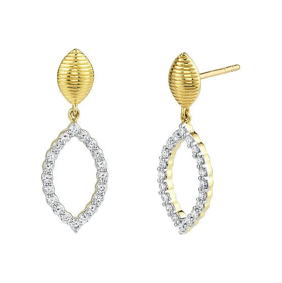 18kt Yellow Gold Marquis Shaped Diamond Earrings