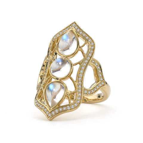 Katie Decker 18kt Yellow Gold Baroque Moonstone Ring