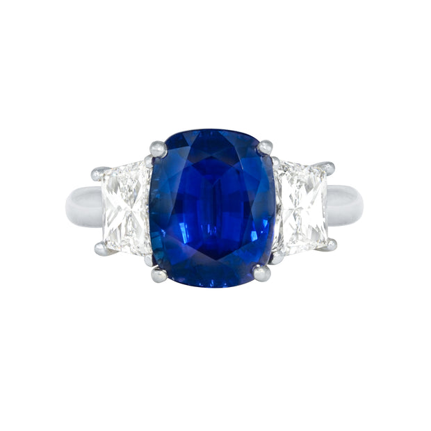Platinum Cushion Cut Sapphire Ring