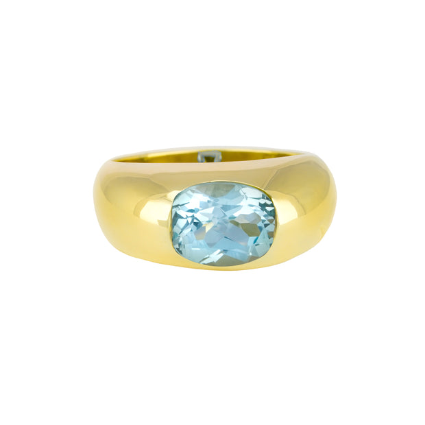14k Yellow Gold Blue Topaz Dome Ring