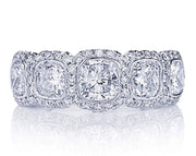JB Star Platinum 5 Cushion Cut Diamond Band