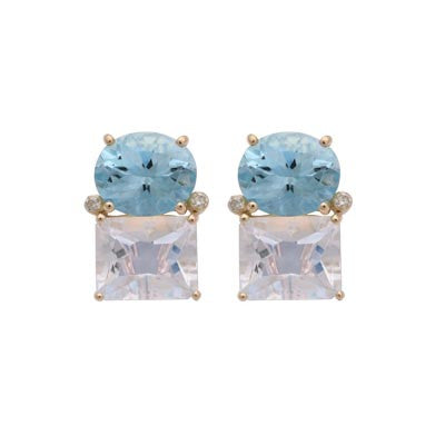 18kt Yellow Gold Blue Topaz and Crystal Earring