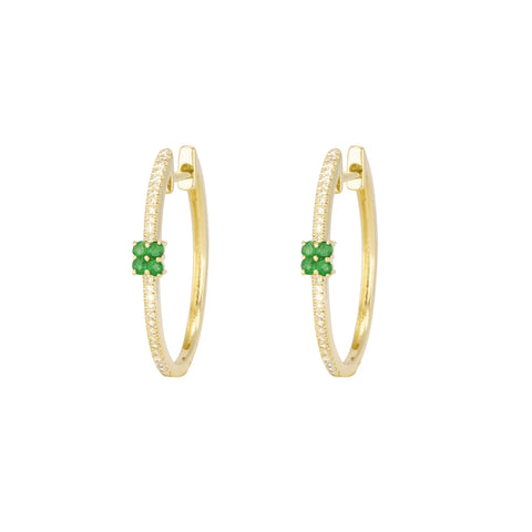 14K Yellow Gold Diamond and Emerald Hoops