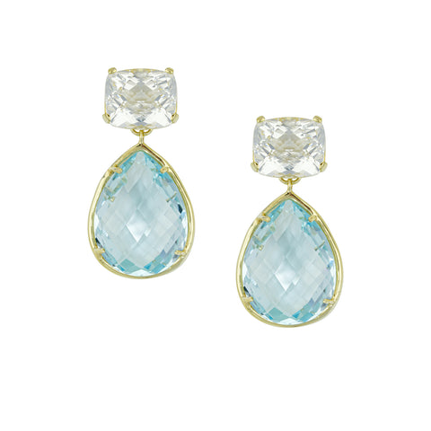 14k Yellow Gold White Topaz and Blue Topaz Drop Earring