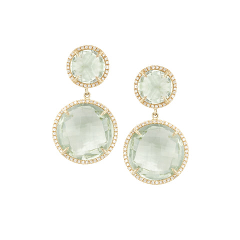 14k Yellow Gold Green Amethyst Diamond Drops