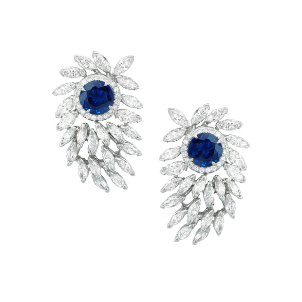 Estate Platinum Diamond and Sapphire Studs