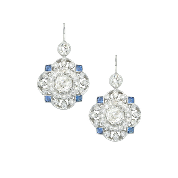 Estate 18k White Gold Diamond and Sapphire Drops