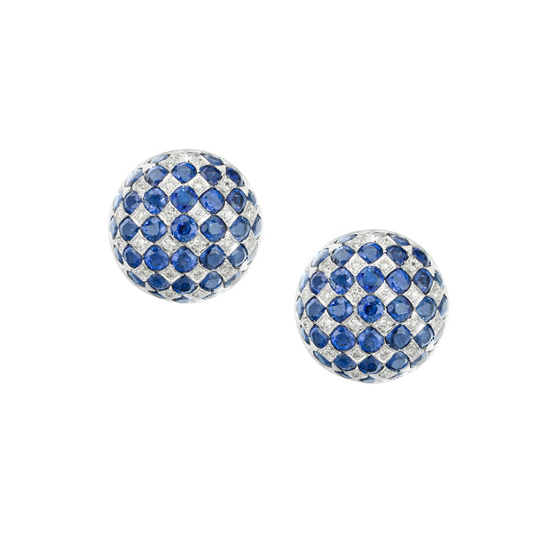 18k White Gold Diamond and Sapphire Studs