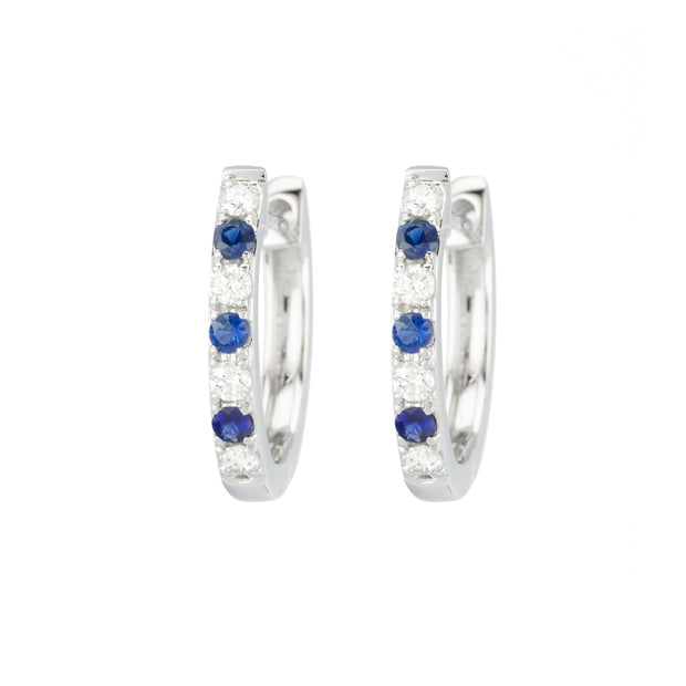 14k White Gold Diamond and Sapphire Huggies