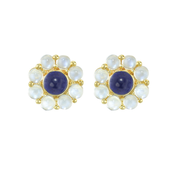 14k Yellow Gold Moonstone and Iolite Earrings
