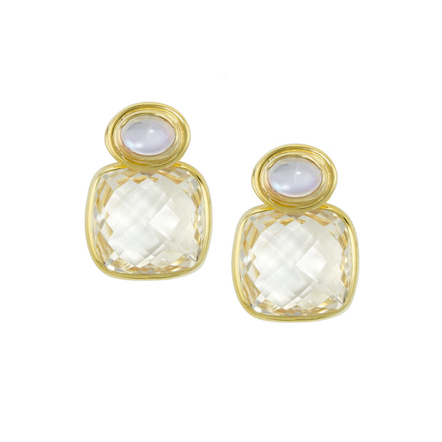 14k Yellow Gold Moonstone and White Topaz Earring