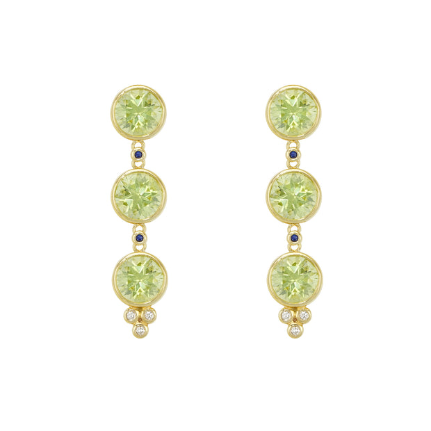 Temple St. Clair 18k Yellow Gold Peridot Triple Drop Earrings