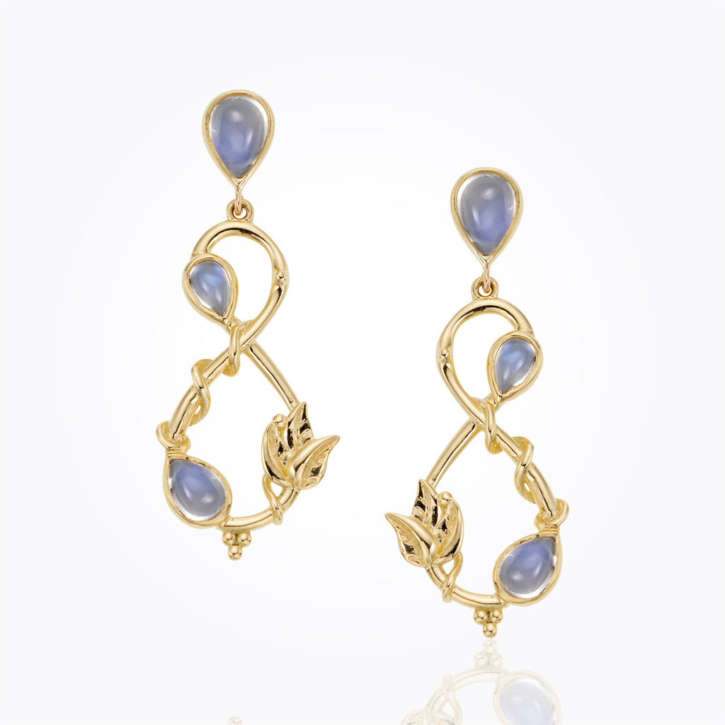 Temple St. Clair 18K Double Leaf Earrings with Royal Blue Moonstone