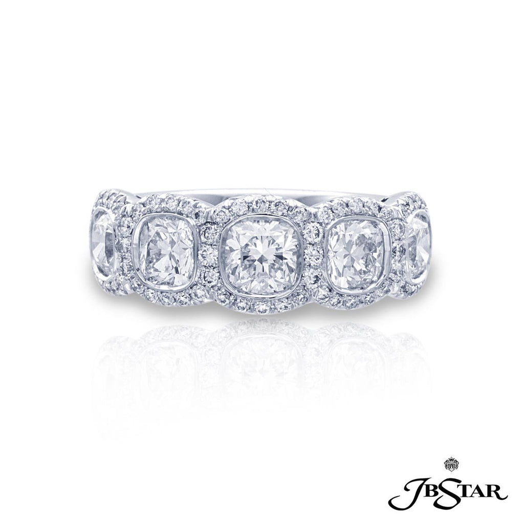 JB Star Platinum Cushion Cut Diamond Band