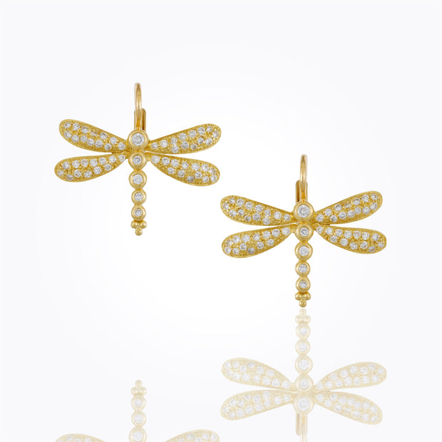 Temple St. Clair 18k Yellow Gold Diamond Dragonfly Drops