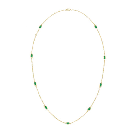 14k Yellow Gold Emerald Necklace