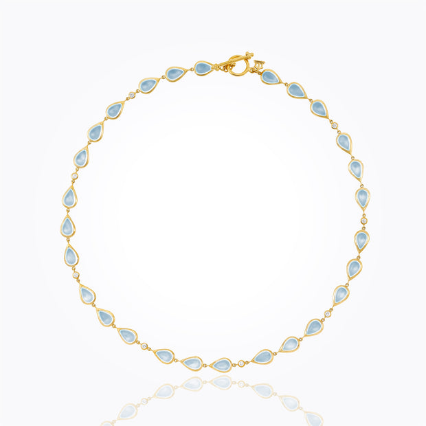 Temple St. Clair 18k Yellow Gold Royal Blue Moonstone and Diamond Pear Necklace