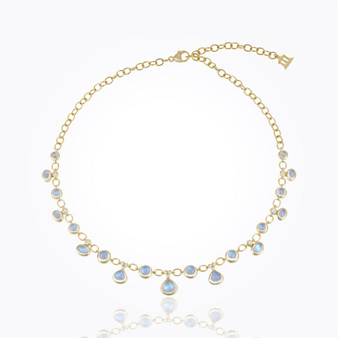 Temple St. Clair 18k Yellow Gold Royal Blue Moonstone and Diamond Half Bib Necklace