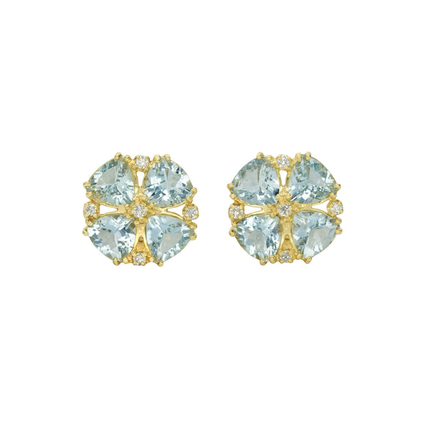 14k Yellow Gold Aquamarine and Diamond Earring
