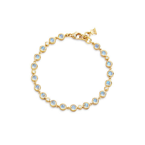 Temple St. Clair 18k Yellow Gold Small Single Round Blue Moonstone and Diamond Bracelet