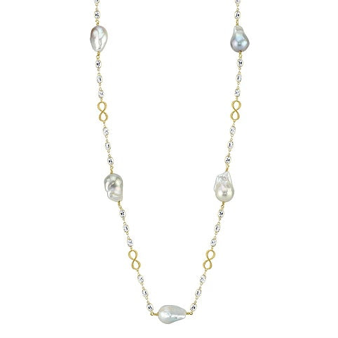 Sloane Street 18 karat Yellow Gold and White Topaz Necklace with Baroque Pearls