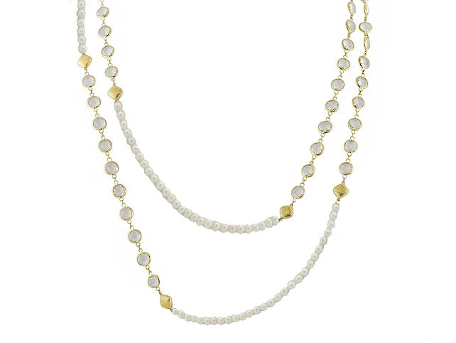 Sloane Street 18 karat Yellow Gold Pearl and White Topaz Necklace