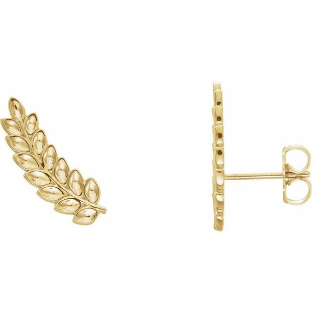 14k Yellow Gold Leaf Earrings
