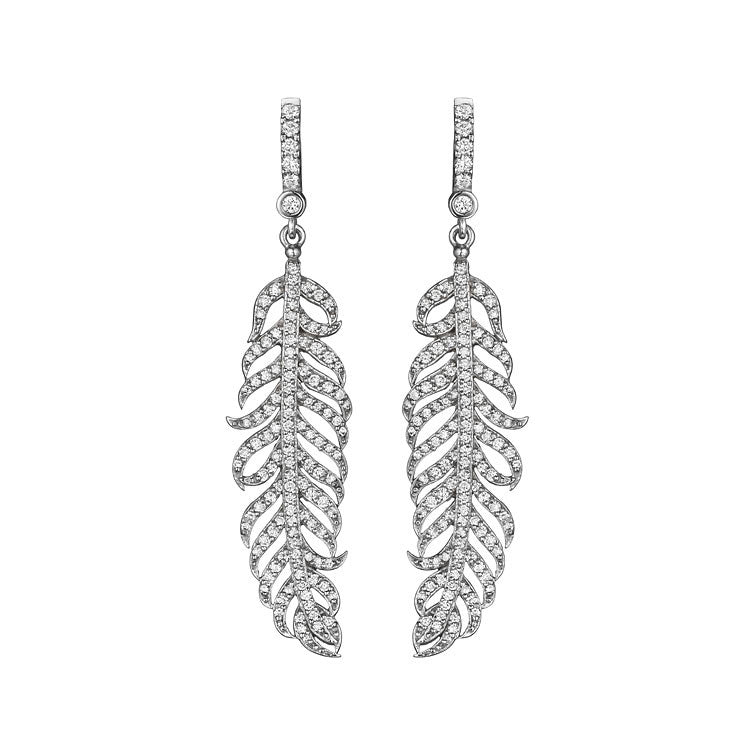 Penny Preville 18kt White Gold Diamond Feather Earrings