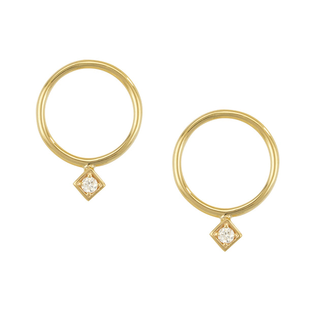 14k Yellow Gold Hoop Diamond Studs