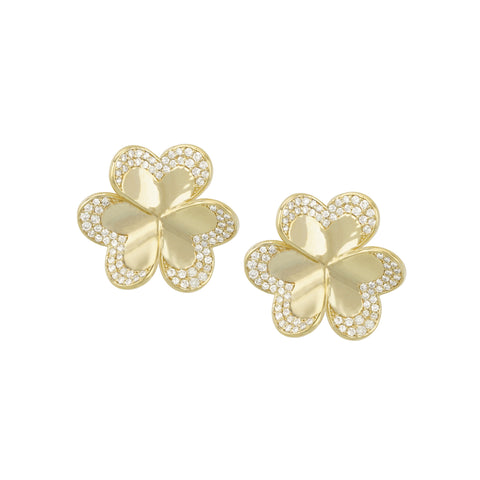 14k Yellow Gold Diamond Clover Studs