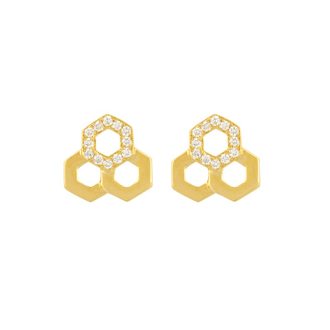 Temple St. Clair 18k Yellow Gold Diamond Bee Studs