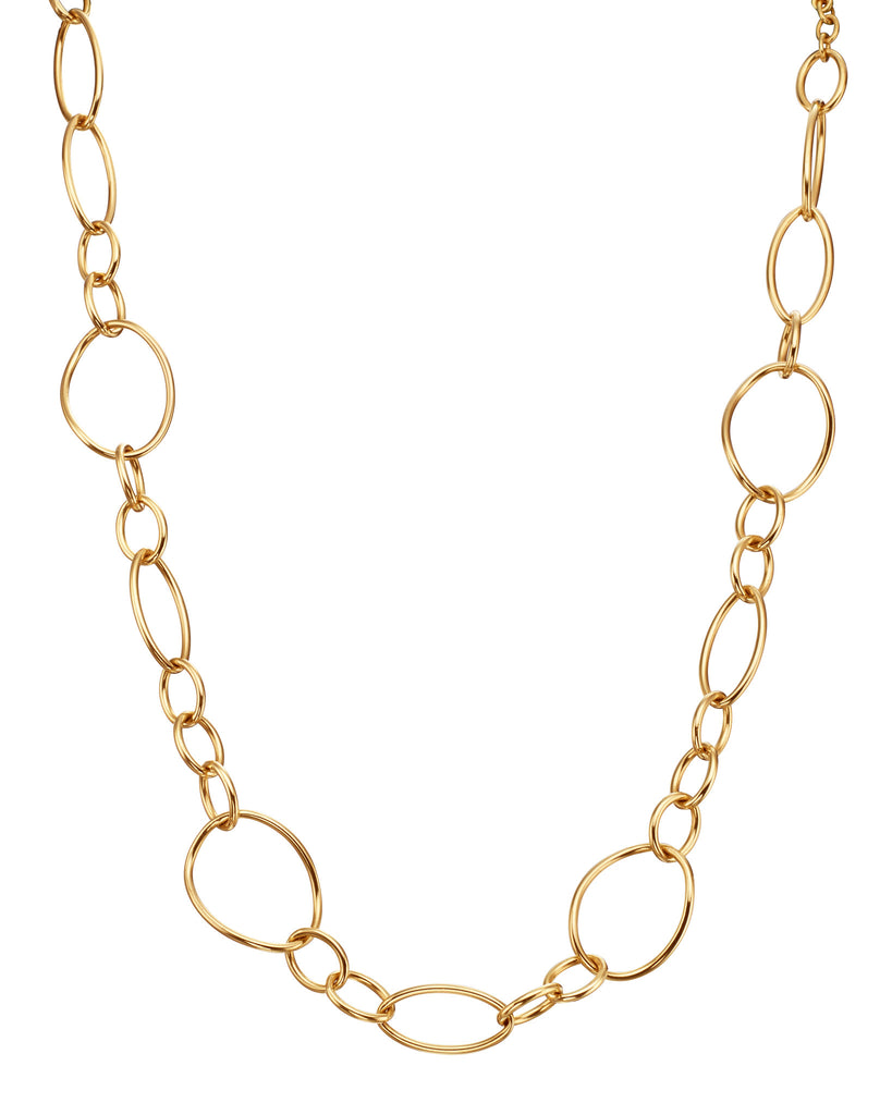 18kt Yellow Gold Hollow Link Toggle Necklace