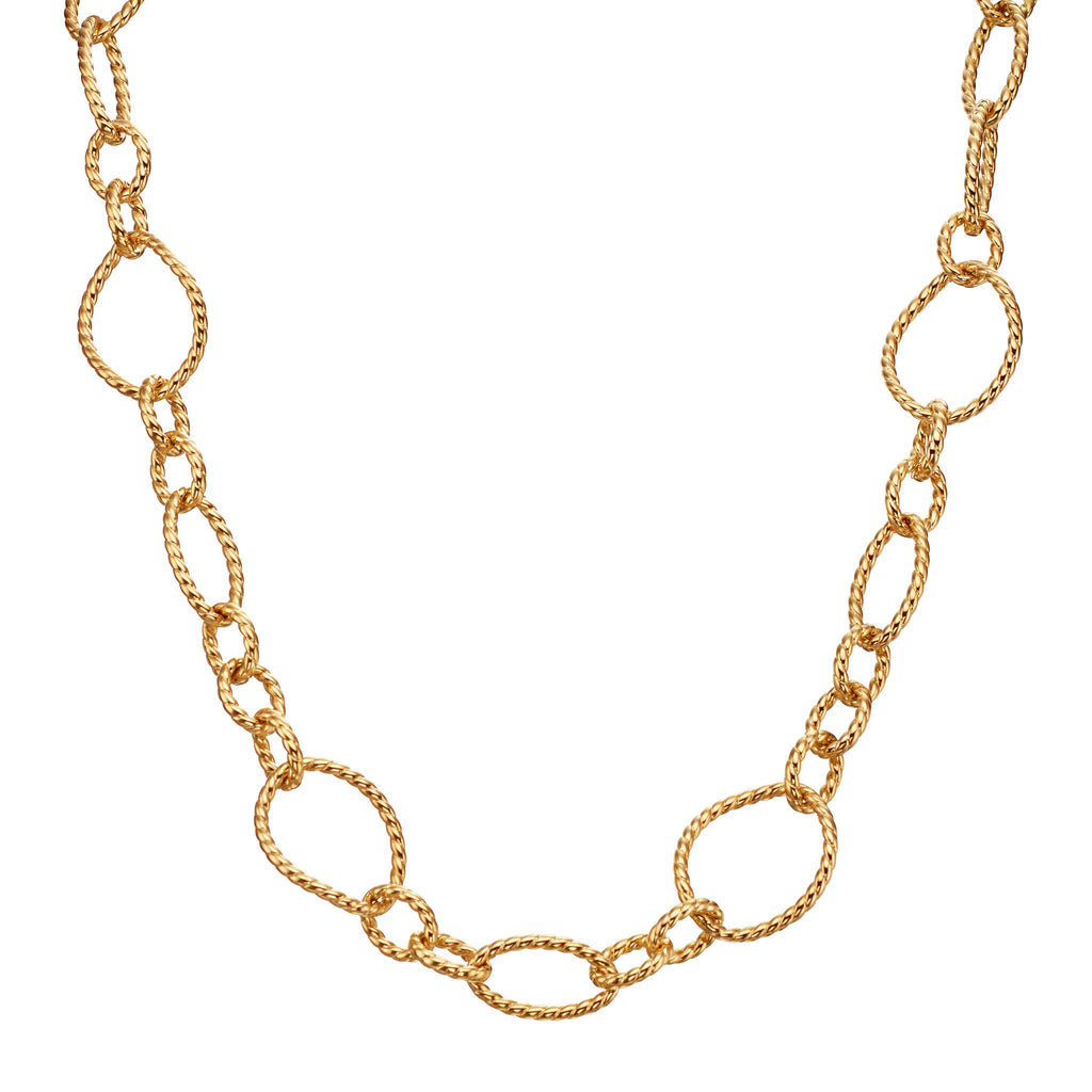 18kt Yellow Gold Hollow Twist Link Toggle Necklace