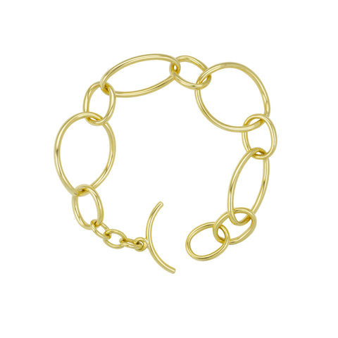 18k Yellow Gold Hollow Link Bracelet