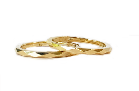 18k Yellow Gold Faceted Bands