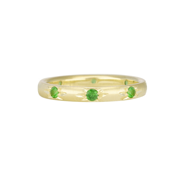 14k Yellow Gold Star Set Tsavorite ring