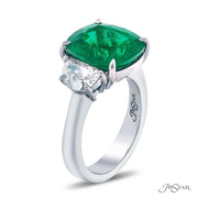 JB Star Cushion-Cut Emerald and Diamond Ring