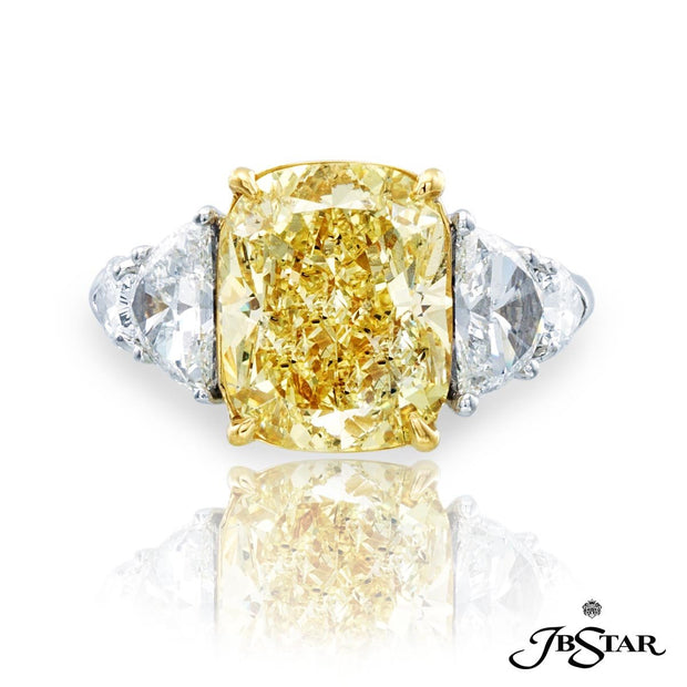 JB Star Yellow Cushion Cut Diamond Ring