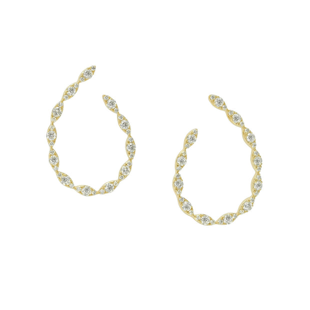 14k Yellow Gold Round Diamond Hoop Earrings