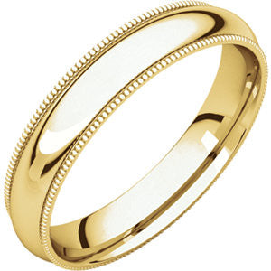 Yellow Gold 4mm Comfort Fit Milgrain Band