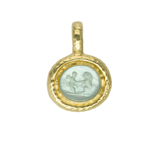 14k Yellow Gold Aquamarine Venetian Glass Enhancer