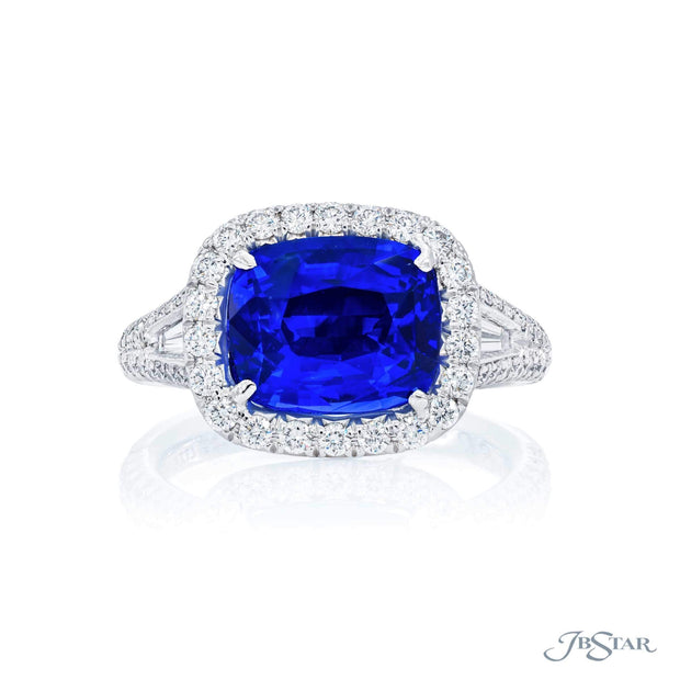 JB Star Platinum Sapphire and Diamond Ring