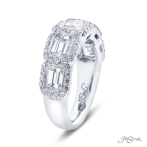 JB Star Platinum Emerald Cut Diamond Band