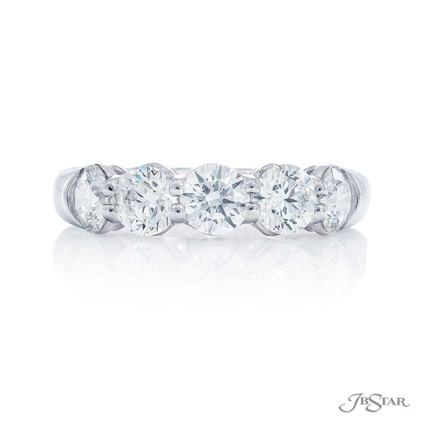 JB Star Platinum Round Cut Diamond Band